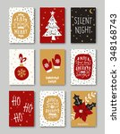 a set of nine christmas... | Shutterstock .eps vector #348168743