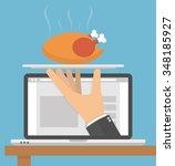 ordering food online concept....   Shutterstock .eps vector #348185927