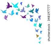 flock of birds. hand drawn... | Shutterstock .eps vector #348197777