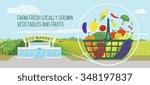 farmers market concept.... | Shutterstock . vector #348197837
