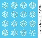 snowflake icons on a blue... | Shutterstock .eps vector #348199487