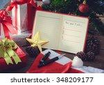 new year resolution  empty list.... | Shutterstock . vector #348209177