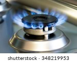 Gas Stove With Flames Of...