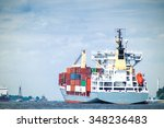 a fully loaded container ship... | Shutterstock . vector #348236483