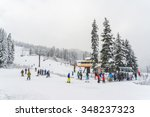 scenic view of small people...   Shutterstock . vector #348237323