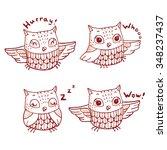 cartoon owls emotions set.... | Shutterstock .eps vector #348237437