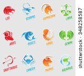vector illustration of zodiac... | Shutterstock .eps vector #348258587