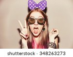 young female model with colored ... | Shutterstock . vector #348263273
