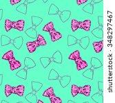 cute pattern of purple bow on... | Shutterstock . vector #348297467