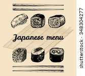 vector hand sketched sushi set. ... | Shutterstock .eps vector #348304277