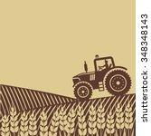 Tractor In Field. Vector...