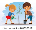 girl and boy planted a tree....