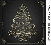 calligraphy christmas tree.... | Shutterstock .eps vector #348367427