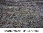 traces of a tractor with fallen ... | Shutterstock . vector #348370703