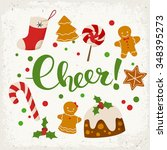 merry christmas vector card.... | Shutterstock .eps vector #348395273