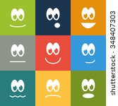 Set Of 9 Square Emoticons In...