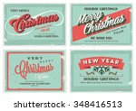set of retro vintage merry... | Shutterstock .eps vector #348416513
