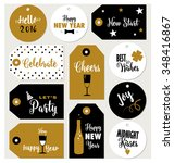 set of new year gift tags... | Shutterstock .eps vector #348416867