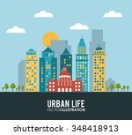 urban life concept with... | Shutterstock .eps vector #348418913