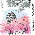 Spring landscape view of the Matsumoto Castle, Japan. Hand-drawn sketch. Vector illustration.