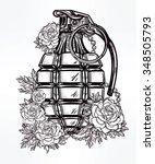 retro hand grenade drawing... | Shutterstock .eps vector #348505793