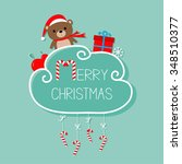 baby bear in santa hat  giftbox ... | Shutterstock . vector #348510377