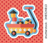 toy cart flat icon with long... | Shutterstock .eps vector #348524813