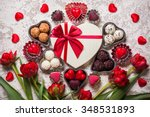 gourmet chocolates and red... | Shutterstock . vector #348531893