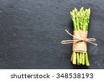 Bunch Of Asparagus Over Slate...