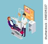 isometric dentist office during ... | Shutterstock .eps vector #348539237