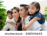 beautiful family portrait... | Shutterstock . vector #348544643