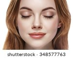 eyes woman closed eyebrow... | Shutterstock . vector #348577763