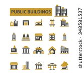 buildings  houses  icons  signs ... | Shutterstock .eps vector #348581537