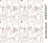 vegetables seamless pattern.... | Shutterstock .eps vector #348593507