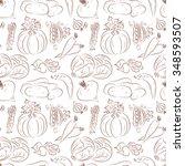 vegetables seamless pattern.... | Shutterstock .eps vector #348593507