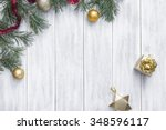 christmas white wooden... | Shutterstock . vector #348596117