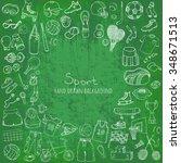 hand drawn doodle sport set... | Shutterstock .eps vector #348671513