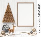 mock up blank picture frame ... | Shutterstock . vector #348683783