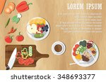 dining table with vegetables... | Shutterstock .eps vector #348693377