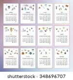 calendar 2016 year with simple... | Shutterstock .eps vector #348696707