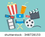 movie items including popcorn ... | Shutterstock .eps vector #348728153