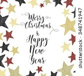 merry christmas hand drawn... | Shutterstock .eps vector #348741947