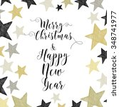 merry christmas hand drawn... | Shutterstock .eps vector #348741977