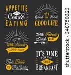 set of vintage food typographic ... | Shutterstock .eps vector #348750323