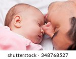 father and little baby in the... | Shutterstock . vector #348768527