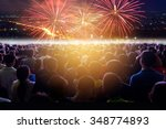 crowd of people flow in... | Shutterstock . vector #348774893