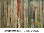 aged faded planked wooden fence ... | Shutterstock . vector #348796037