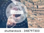 businessman pressing a mission... | Shutterstock . vector #348797303