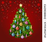 christmas tree with colorful... | Shutterstock .eps vector #348806093