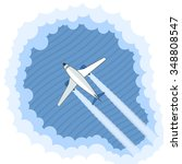 airplane in the clouds. view... | Shutterstock .eps vector #348808547